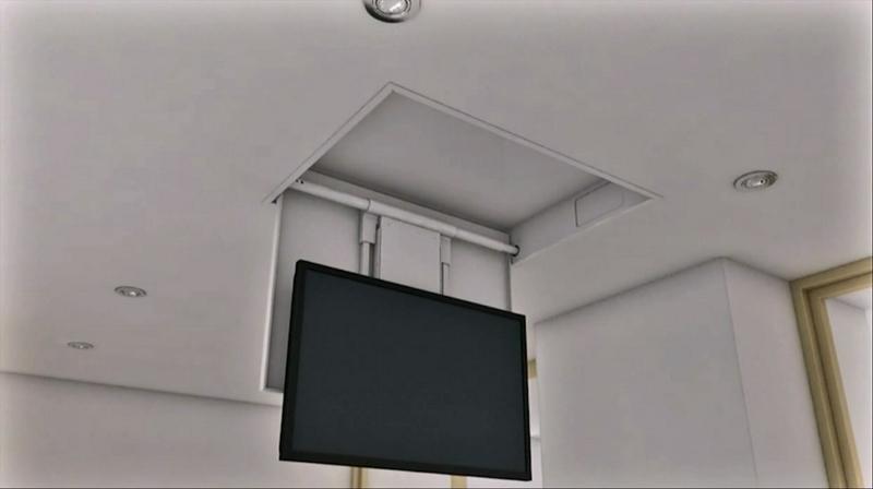 Tv moving chrt sollevatore tv motorizzato da soffitto - Controsoffitto camera da letto ...