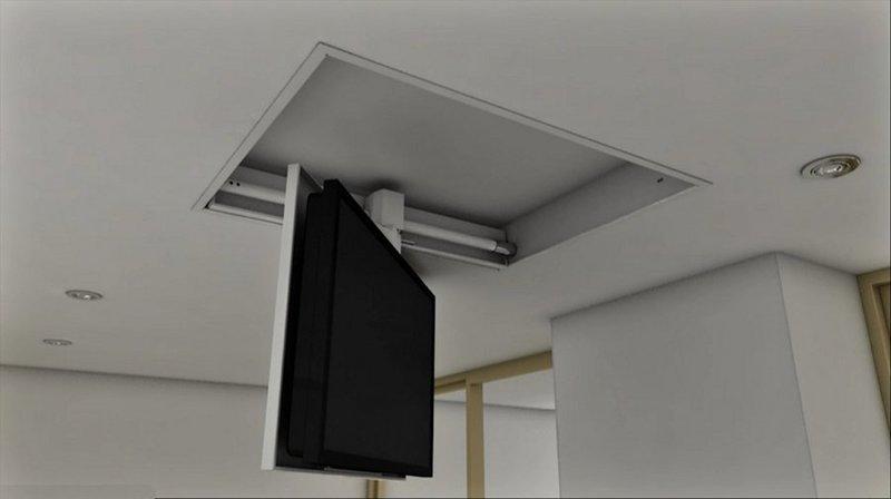 TV MOVING MFCS - Staffa tv motorizzata da soffitto per tv a scomparsa dal sof...