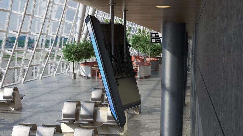 Tv moving cme supporto tv motorizzato da soffitto per tv appeso al soffitto - Portapentole da soffitto ...