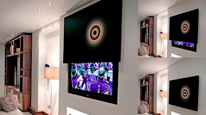 MLPIC - Staffe tv motorizzate speciali per televisori a scomparsa dietro quadri, specchi e pannelli