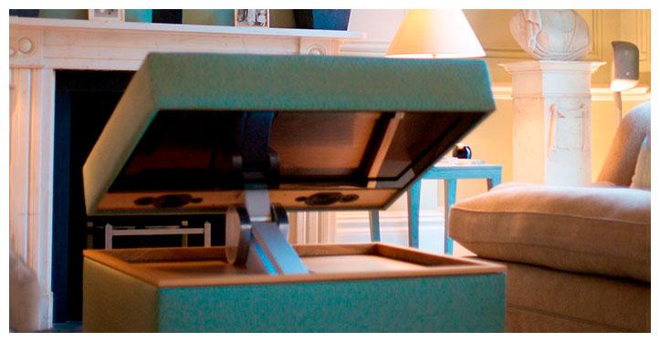 tv a scomparsa staffe tv motorizzate per nascondere televisore soffitto mobile armadio tavolo parete dietro quadri specchi sotto  letto pavimento